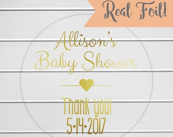 Baby Shower Stickers, Gold Foil on Clear Transparent Stickers for Baby Shower (#198-CF)