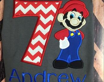 Mario birthday shirt.
