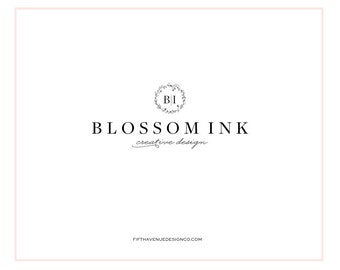 "Pre Made Logo Design - Boutique Logo - Small Business Logo - ""Blossom Ink"""