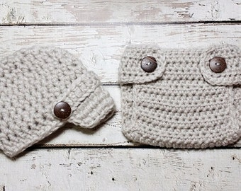 Newborn Baby Boy Photo Prop Handmade Crochet Diaper Cover, Crochet Diaper Cover Hat Set * Linen