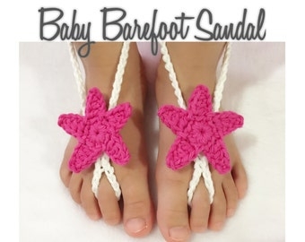 Crochet Star Baby Barefoot Sandals, Baby Shoes,Baby Sandals, Crochet Star Barefoot Sandal