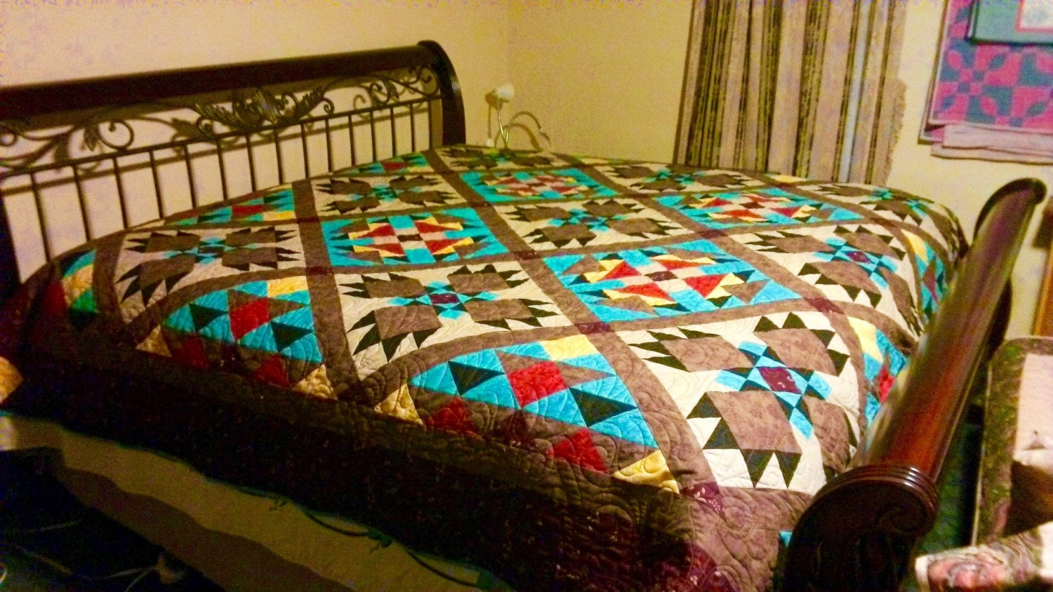 Patchwork bed sheets patterns - Southwest Quilt Pattern Bear Paw Indian Native American Quilt King Size 105 X 105