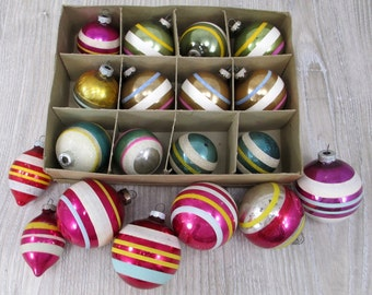 19 Vintage 1950's Shiny Brite Balls Retro Modern Striped Stripes Lot  Christmas Tree Ornament Teardrop Midcentury Modern Mica Brites Brite