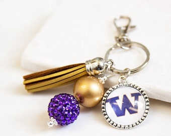 University of Washington Key Chain, Washington Keychain, Washington Huskies, Purple and Gold, University of Washington Gifts, Huskies Gift