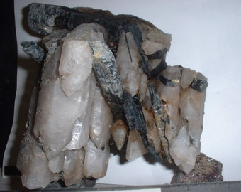 Pyroxene Crystals in and with Smokey Quartz Crystals