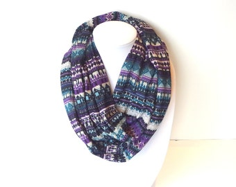 Purple Scarf, Jersey Infinity Scarf, Purple Blue Scarf, Cozy Scarf, Winter Scarf