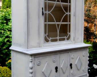 Large vintage hutch refinished in cream and gray!!