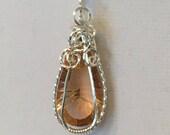 Silver Wrapped Peach Drop Pendant