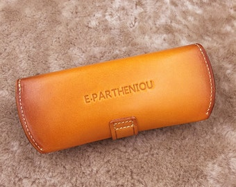 Personalized leather glasses case - Custom Engraved