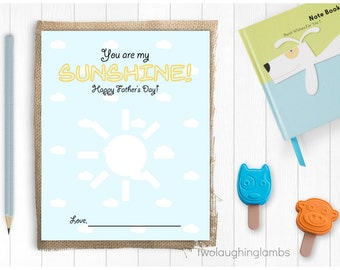 Instant Art Project 'You are my Sunshine' Printable Gift DIY Art Project Happy Fathers Day Child Art