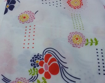 Flower Print Polyester Bright Colored Vintage Fabric
