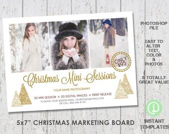 "Christmas Mini Session Marketing Board Photoshop Template 5x7"" - M1C002"