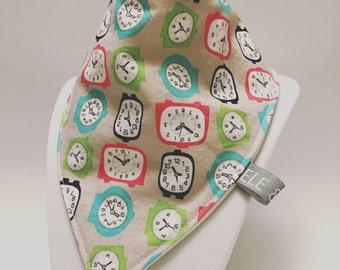 Clocks bib / baby bib / drool bib / bibdana / ready to ship