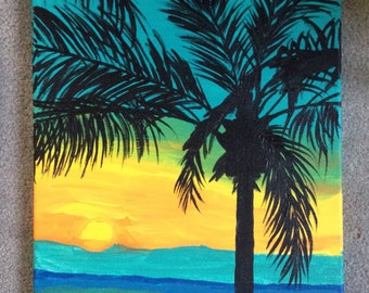 FREE SHIPPING! Palm tree original acrylic painting on a 12x16 canvas, sunset acrylic painting, vibrant ocean painting