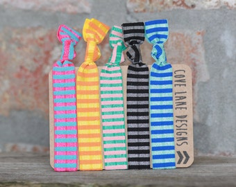 Stripe Up Your Life Elastic Hair Ties Ponytail Holders Yoga Hair Ties No Crease Knotted Hair Tie