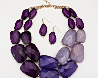 Statement Purple necklace, two strands, chunky, Bib necklace, handmade gift idea, Christmas gift.