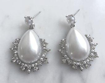 White pearls earrings, Crystal framed, dangles, Teardrops, statement, Bridal jewelry, bridesmaids jewelry, gift for her, Beadwork.