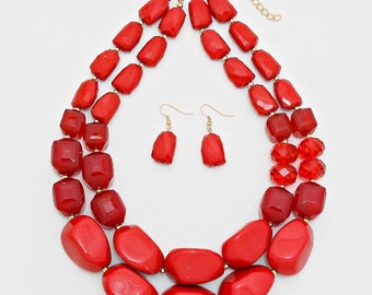 Red necklace, chunky, two strands, Red beaded necklace, Multi strands, gift idea, gift for her.