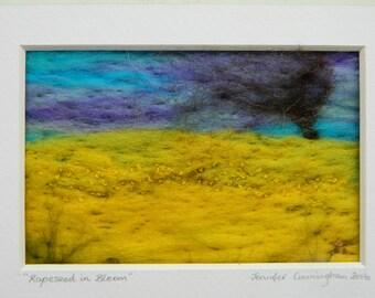 """felt art framed needle felt scene """"rapeseed in bloom"""""""