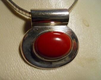 Vintage sterling silver coral pendant necklace