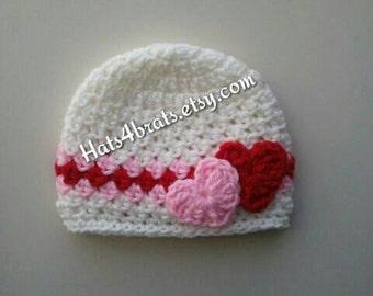 Valentine's Day Crochet Hat, Baby Valentine's Day Hat, Newborn Valentine's Day Hat, Infant Valentine Hat, Newborn Valentine's Day Photo Prop