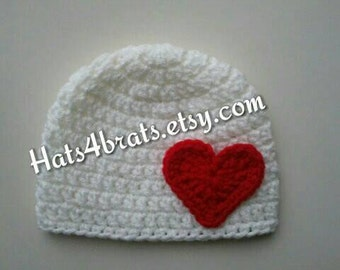 Baby Valentines Day Hat,Crochet Baby Hat, Valentine's Day, Baby Valentines Hat, Newborn Valentine Hat, Valenetine Photo Prop, Infant Hat