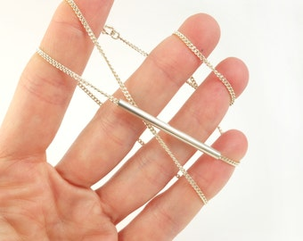 silver chain with straight round silver tube, silver bar necklace, everyday necklace, simple geometric silver necklace