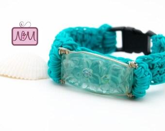 Crochet Boho Chic Lightweight Woven Bracelet, Aqua Green Colour, 7 inches, Plastic Clasp, Crochet Nylon Bangle, Gift For Her, Friendship