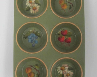 Antique hand painted Cupcake pan, Wall decor, Hand painted muffin pan