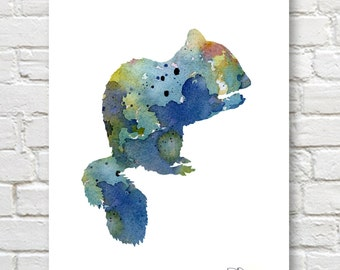 Chipmunk Art Print - Abstract Wildlife Watercolor Painting - Wall Decor
