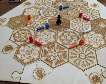 Custom Wooden Game Board For Settlers of Catan Board Game With Engraved Wooden Storage Box
