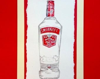 Hand-painted watercolour Smirnoff Vodka Card
