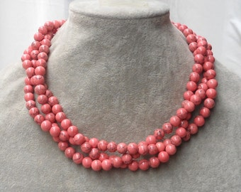 Pink Necklaces, 18 Inches  8mm 3 Strands bead  Necklace,Wedding Jewelry,Necklace,Bridesmaid necklace,3 Strands beads Necklace,