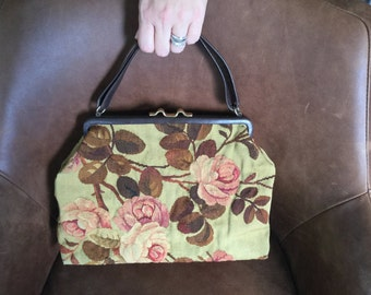 Vintage Tapestry Purse Handbag Flower Design Green Brown Red Pink Fabric