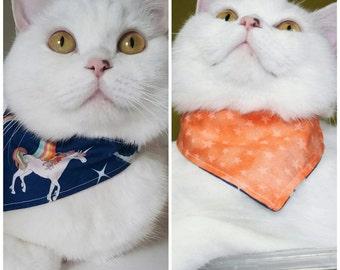 "Cat Bandana Reversible - ""Unicorn/Orange Stars"" - 2in1"