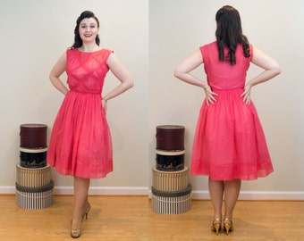 1950s Vintage Dress - Bright and Happy Pink - Sheer with Crossed Lace Trim