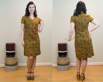 1960s Vintage Dress - Block Printed Cotton Sheath Dress