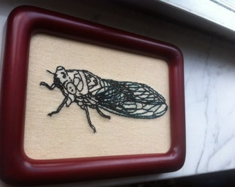 Hand-Stitched Cicada Embroidery
