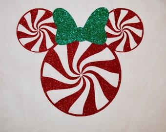 Minnie Christmas Peppermintglan Tee Glitter HTV