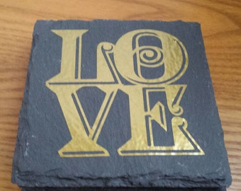 LOVE Slate Coasters Set of Four