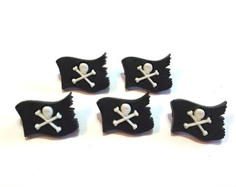 Pirate Flag Buttons Galore A Pirates Life Set of 5 Shank Back - 93