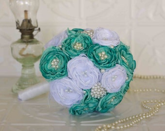 Fabric Flower and Brooch Wedding Bouquet, White and Teal Satin, chiffon and Lace Bridal Bouquet