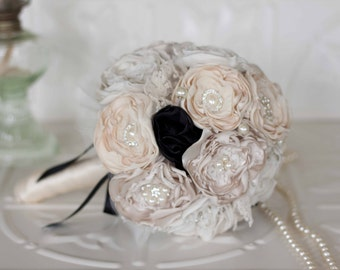 Fabric Flower and Brooch Wedding Bouquet, Ivory, Cream, Champagne and Black, Satin, chiffon and Lace Bouquet