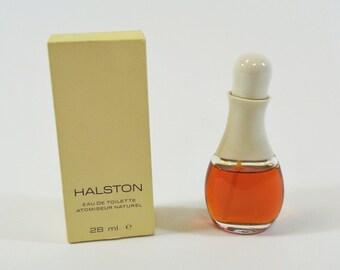 Vtg Halston Eau de Toilette Atomiseur Naturel 1 oz 28 ml - 95% Full in Box
