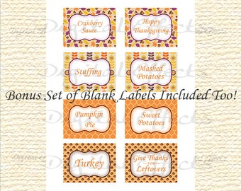 FALL FOOD Labels, Thanksgiving Editable Labels, Thanksgiving Printable Labels, Blank Thanksgiving Digital Labels Editable PDF JpG