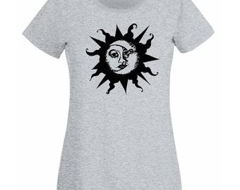 Womens T-Shirt with Sun & Moon Design / Ethical Symbol Shirts / Crescent Day and Night Joga TShirt + Free Random Decal Gift