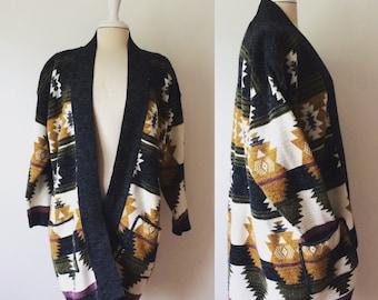 Navajo Print Cardigan Sweater 1980's Made in USA size Medium