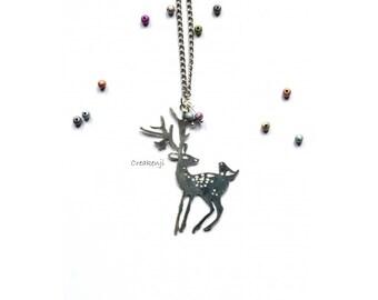 Poetic necklace deer of winter silver