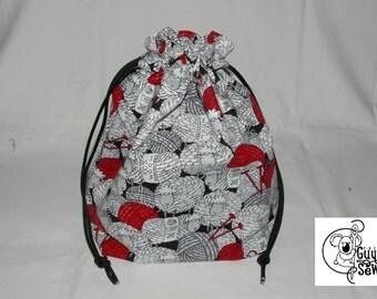 Knitting / Crochet Drawstring Project Bag. Yarn Ball Print. Choose the interior color!