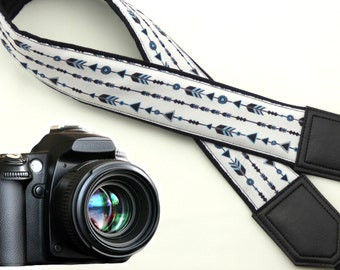 Arrows camera strap. DSLR camera Strap. White padded camera straps. Men camera accessories by InTePro